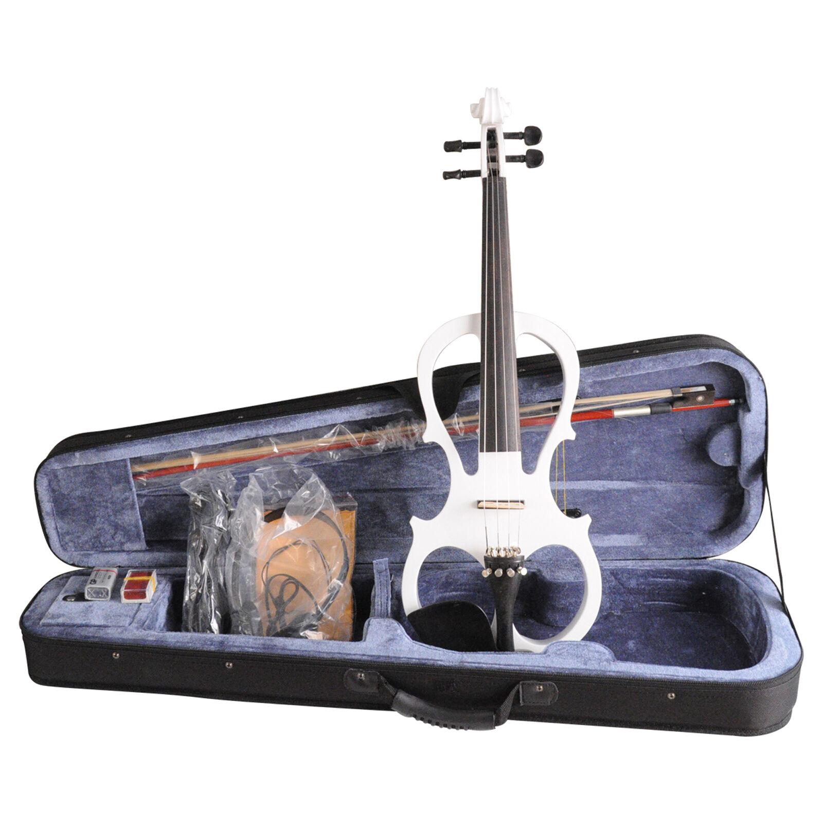 4 4 violín eléctrico blancoo estilo VE008B Espuma Espuma Espuma Estuche Arco Resina De Auriculares 85c016