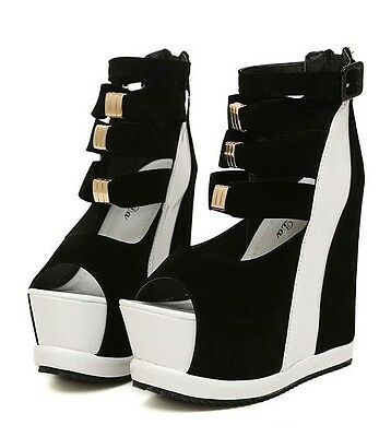 Open Toe Platform Wedges Strappy Sexy High Heel Ankle Ladies Boots Booties Shoes