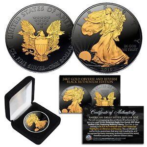 2019-BLACK-RUTHENIUM-1-oz-999-Fine-Silver-American-Eagle-US-Coin-24K-Gold-Clad