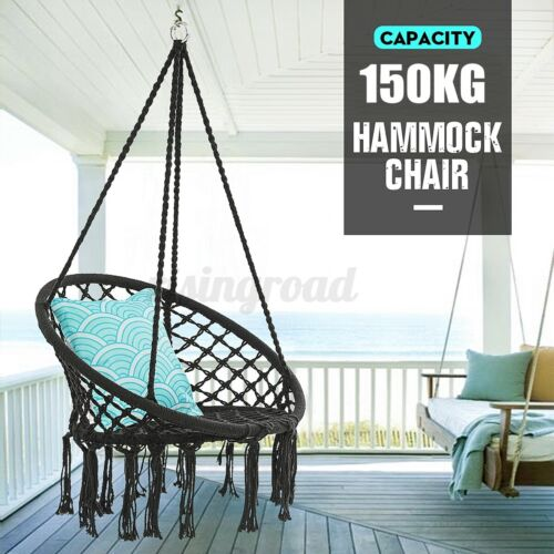 330lb Hanging Macrame Hammock Chair Swing Bed Seat Indoor Yard Outdoor xmas gift