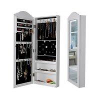 Large Mirror Cabinet Wall Mounted Jewelry Storage Box Room Dressing Organizer Uk
