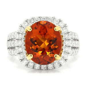 Mandarin Garnet Halo Ring with Diamonds 18K Two Tone Gold 5.32ctw
