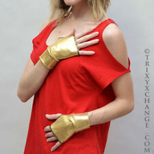 Gold Metallic Short Fingerless Gloves Shiny Cyberpunk Oil Slick Cyber Comic 1007