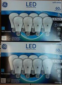 16 GE Lighting LED Softwhite 60w Replacement ( 2 packs of 8 ) 2700K   LEDA19 NEW