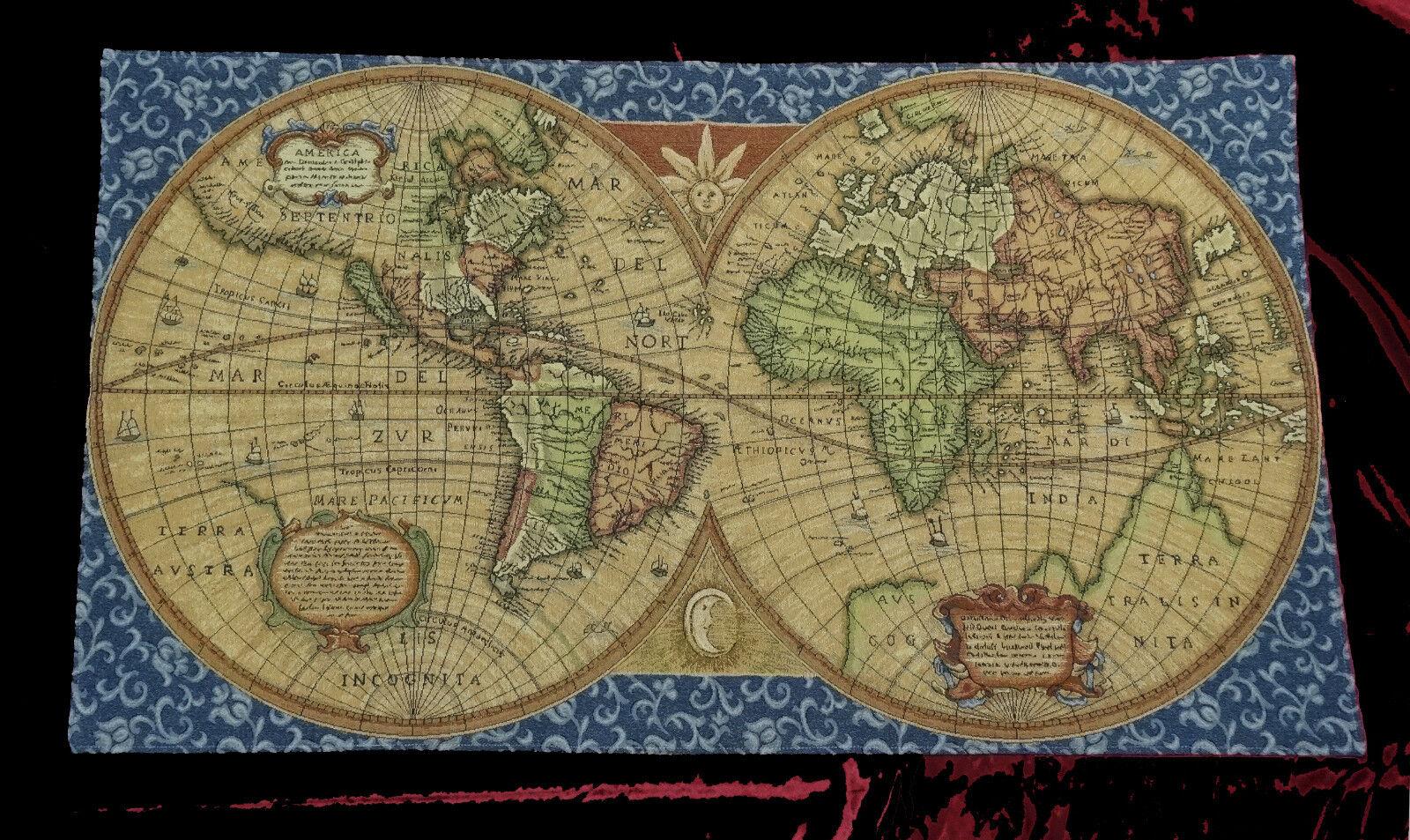 Tapisserie Tapis Italy Old map Carte du monde Bleu Antik Design Bleu monde tapestery 116x68cm 972f4b