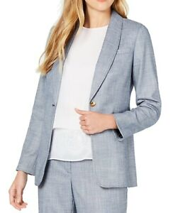 Calvin Klein Womens Blazer Jacket Chambray Blue Size 4P Petite 1 Button $129 391