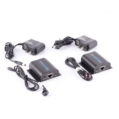 60M HDMI Extender Transmitter Receiver with IR Cat6//6A//7 Ethernet Cable 3D 1080P