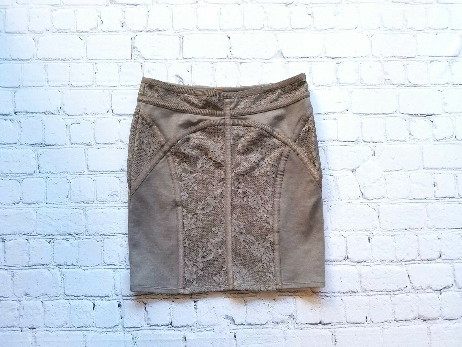 Free People Taupe Lace Mini Skirt Sz Small