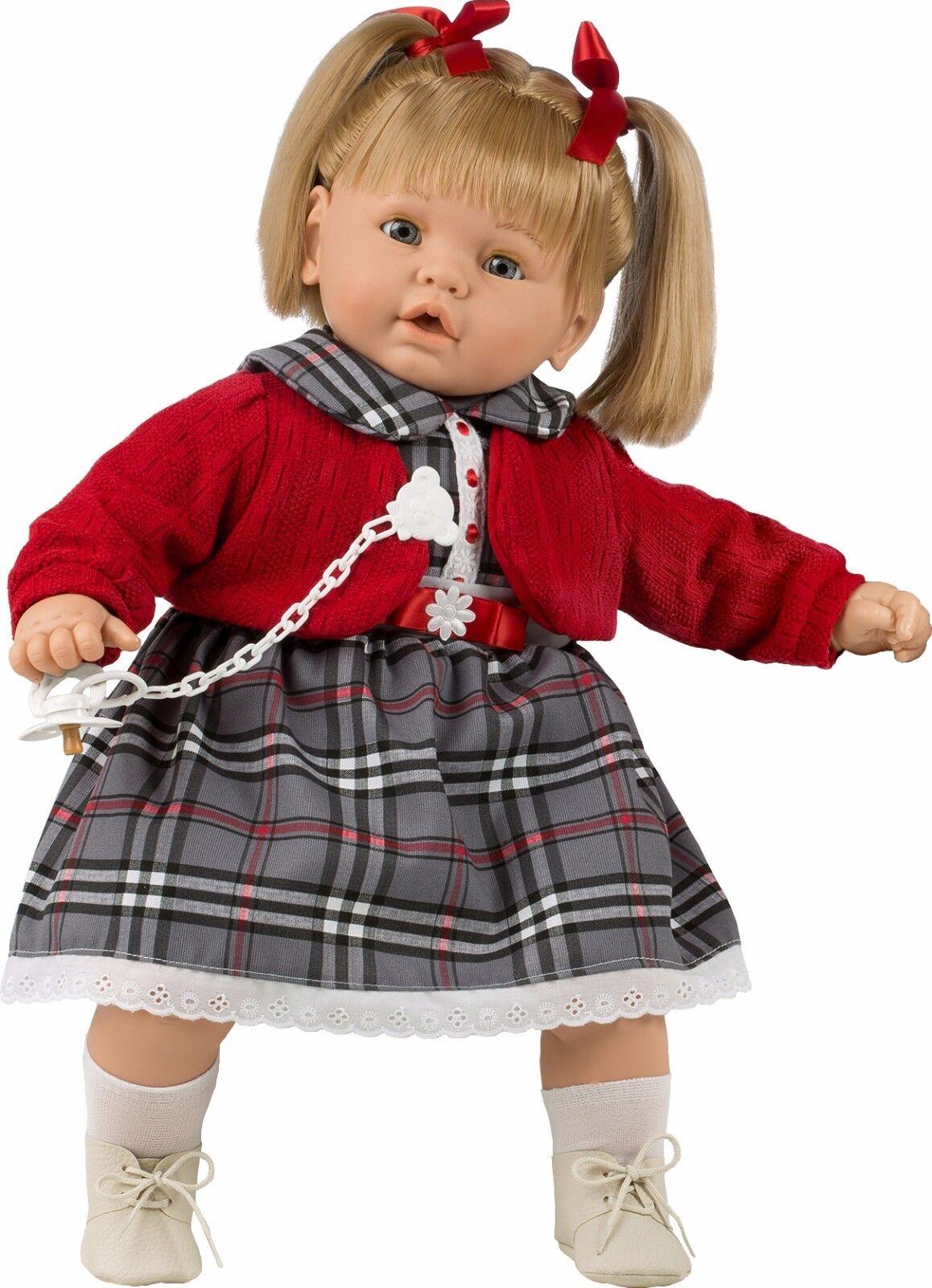 Berbesa - Dulzona muñeca bebé llGoldna llGoldna llGoldna con vestido de cuadros 62 cm (80381) b24cb6
