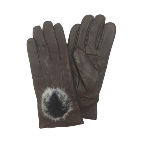 Le Donne morbido PU pelle pelliccia pom Guanti da polso guida Inverno Caldo Guanti di pelle pelliccia all/'interno