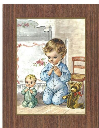 Catholic Print Picture Little Boy praying with his brother & teddy bear 7x9""