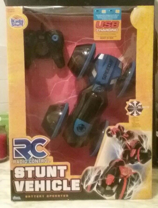 RC bluee Stunt Vehicle USB Charging Kids Stuff  2.4 Ghz Remote Controlled - NEW