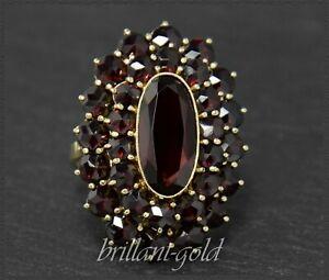 Granat-Gold-Damen-Ring-mit-12-5ct-roten-Granaten-Antik-um-1930-333-Gelbgold