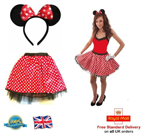 c6e371748 Ladies Mouse Tutu Bow Ears Headband Red Polka Dot Skirt Fancy Dress ...