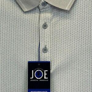 Joe Abbots Performance Men's Large White W/Grey Dots Polo Shirt NWT's (K32)