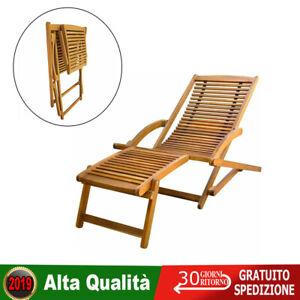 Sedie Sdraio Alluminio Con Poggiapiedi.Sedia Sdraio Prendisole Giardino Patio Con Poggiapiedi In Legno Di