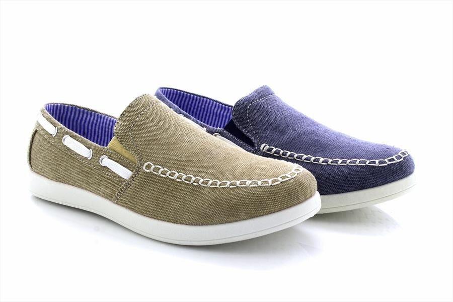 Dr Keller Textile Canvas Slip On Twin Gusset Shoes Navy Beige