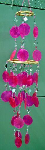 Windspiel mit Spiegel und Capiz Muscheln 10 verschiedene Farben Neu Handarbeit