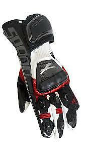 Spada-Elite-kangaroo-Leather-motorcycle-GLOVES-SMALL-Sport-Race-Black-Red