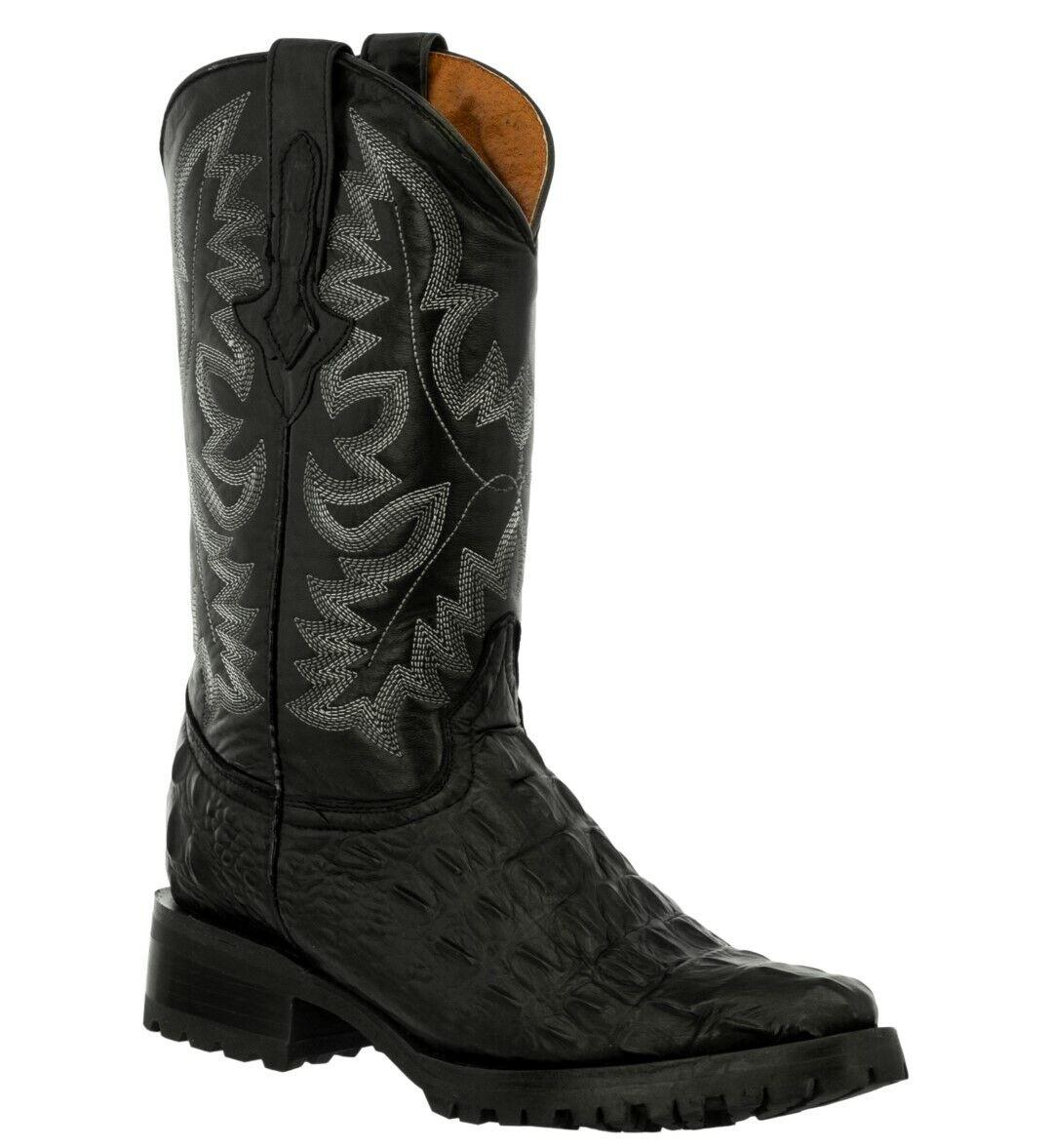 Mens Biker Boots Black Cowboy Alligator Back Print Western Leather J Toe