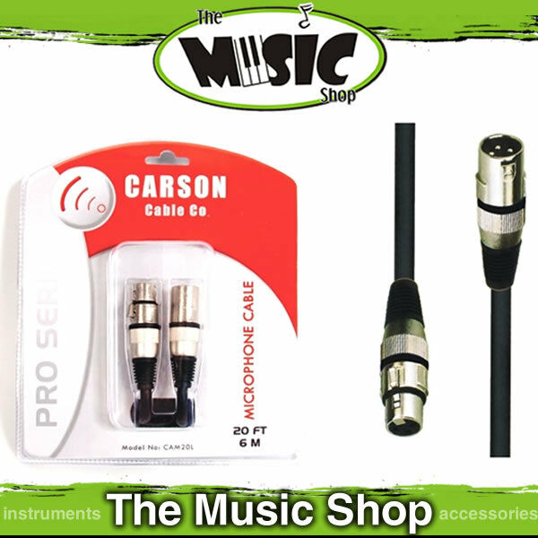 Carson Pro 20ft XLR to XLR Professional Microphone Cable / Lead - 6m Mic Lead