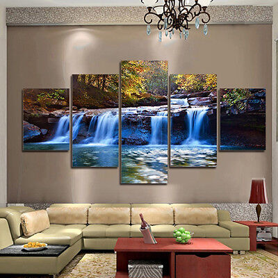 EP_ 5pcs Unframed Waterfall Wall Art Pictures Canvas For ...