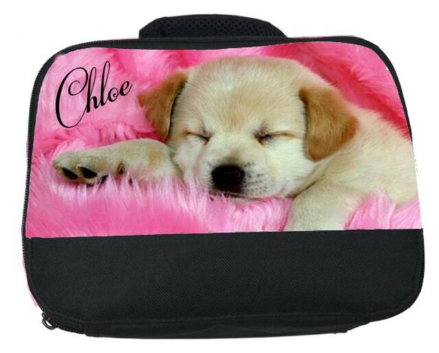 PERSONALISED  PUPPY LABRADOR DOG LUNCH BOX BAG ANY NAME PRINTED FREE