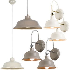 low priced e0e47 7f774 Details about Industrial Modern Indoor Lighting Sets–CREAM OR GREY–Matching  Wall Ceiling Lamps