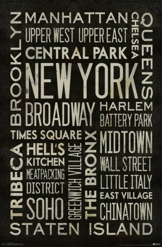 NEW YORK CITY 22x34 NEIGHBORHOOD COLLAGE POSTER NYC 17725
