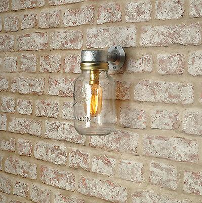 Romantico Commesso Luce A Parete Esterna-kilner Jar-vintage Stile Industriale Marchio Ce- Essere Accorti In Materia Di Denaro