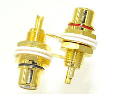 5 Pairs RCA Female Chassis Panel Mount Jack Socket Connector 24K Gold Plated USA