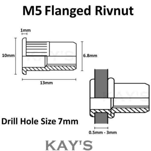 Rivnuts ALLUMINIO Filettati Rivetto Cieco NUTS estremità aperta nutsert M3 M4 M5 M6 M8 M10