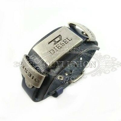 Hot Men's Cool Punk Rivet Belt Buckle Wristband Genuine Leather Bracelet  Black