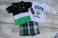 U.S. Polo Assn. Baby Boys NEW Shirt Shorts 3 Pc Set Size 3-6 Months
