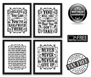 Details about 4 Pack Gym Inspirational Posters Motivational Pain Fitness  Workout Quotes 8x10