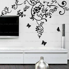 Huge Abstract Flower Vine Butterfly Wall Stickers Art Decal Home Decor Removable