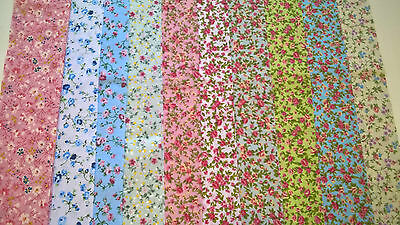 10xVintage Rainbow Floral Fabric Jelly Roll Strips Polycotton Patchwork Quilting