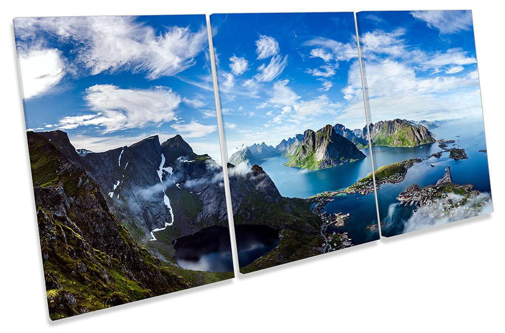 MONTAGNE Norvegia PAESAGGIO incorniciato tela stampa Treble Wall Art