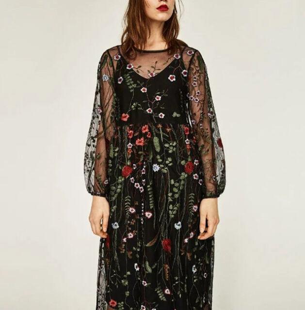 Women Long Sleeves Floral Embroidered Sheer Dress Bloggers Fav Black