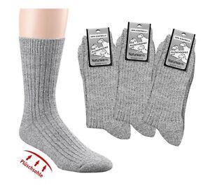 3-6 Paar Norweger Socken Natur 100% Wolle Plüschsohle ohne Gummidruck 35-50