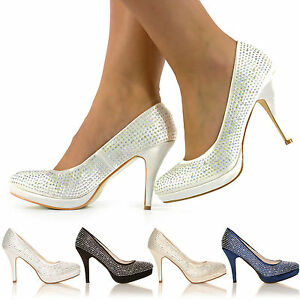 d333b4d49499ee Image is loading WOMENS-LADIES-DIAMANTE-HIGH-HEELS-BRIDAL-PROM-EVENING-