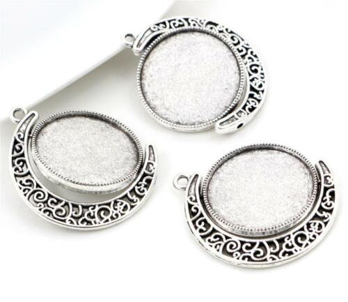 Antique Silver Double Sided Cabochon Pendant BaseScroll Design25mm Setting