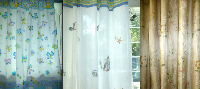 VOHANN Taupe Beige FLORAL Embroidered Blu BUTTERFLY Print RUFFLED SHOWER CURTAIN