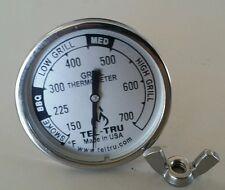 """Tel-Tru BQ225 BBQ Smoker Thermometer 2"""" Dial w/ 2.13"""" Stem Grill 700 zones"""