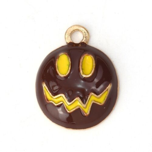 2 x Pumpkin Brown Enamel Pendant Charms Halloween
