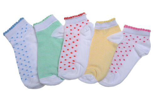 5 pairs of Spots /& Stripes Girls Trainer socks
