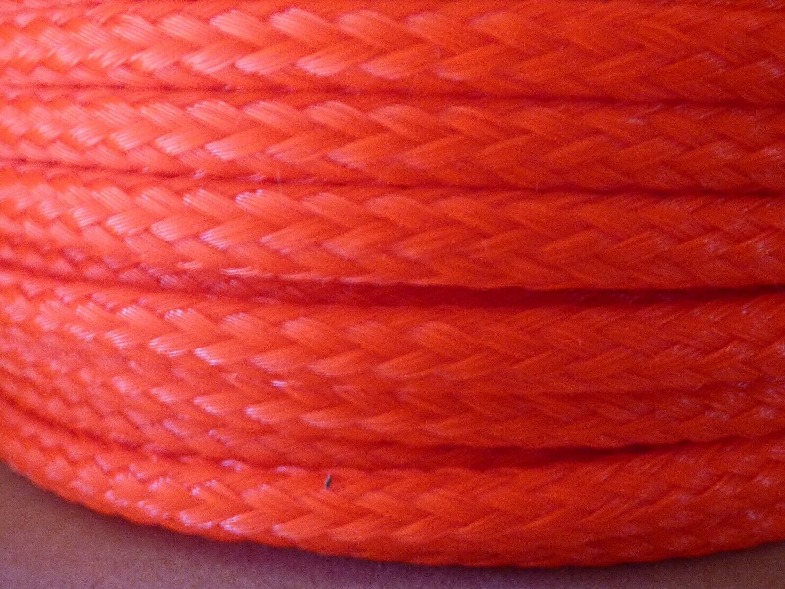 6mm x 600 ft.(2 lengths)Hollow Braid Polyethylene Rope. Neon orange.Made in USA.
