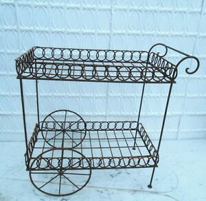 Image Is Loading Wrought Iron Serving Cart Circle Garden Metal Stand