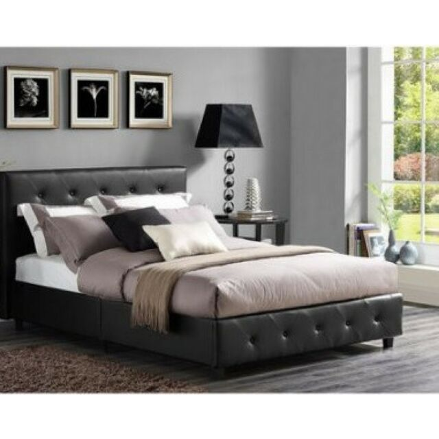 Full Size Bedroom Set 3 Piece Modern Black Design Leather Headboard Bed Frame