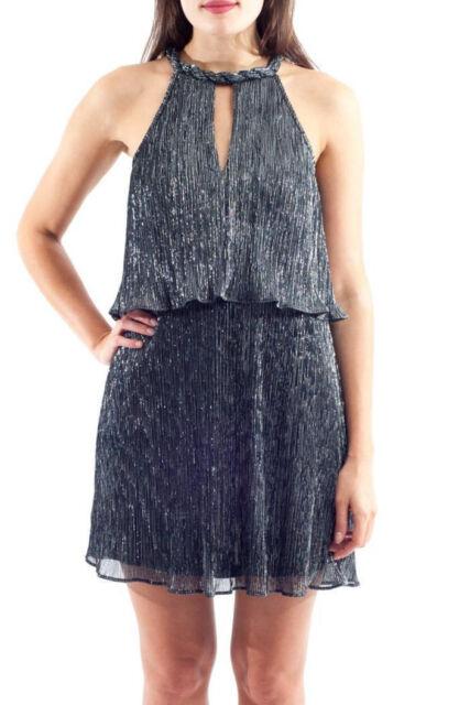 ELLA MOSS ~ Black Silver Metallic Braided Keyhole Popover Party Dress M NEW   228 b385ac966
